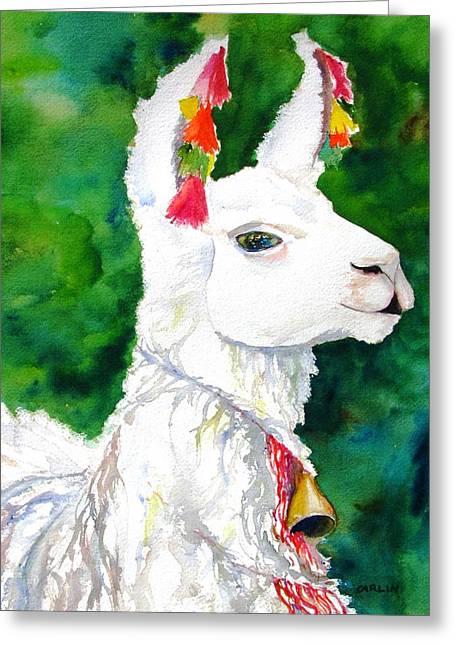 Alpaca With Attitude Greeting Card by Carlin Blahnik