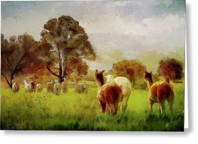 Alpacas In The Oats Greeting Card