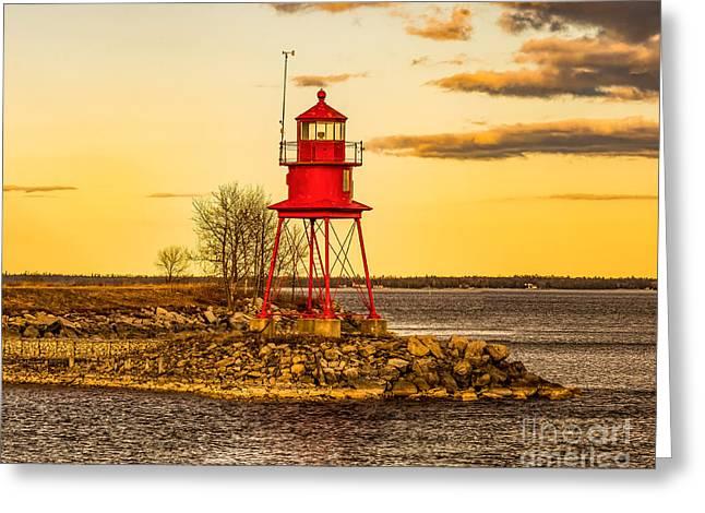 Alpena Harbor Lighthouse  At Sunset Greeting Card