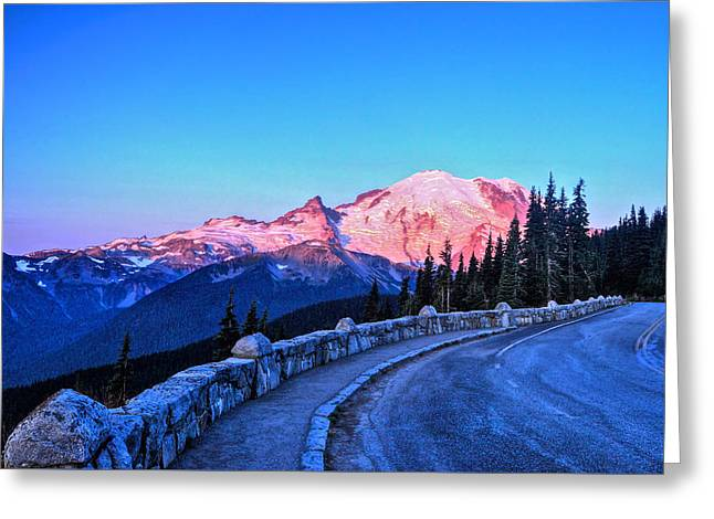 Alpenglow At Mt. Rainier Greeting Card