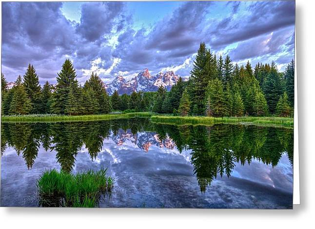Alpenglow In The Tetons Greeting Card