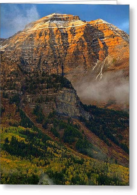 Alpenglow On Mt. Timpanogos Greeting Card by Utah Images