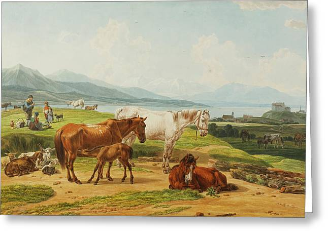 Alpensee Und Weide Mit Pferden Nach Greeting Card by MotionAge Designs
