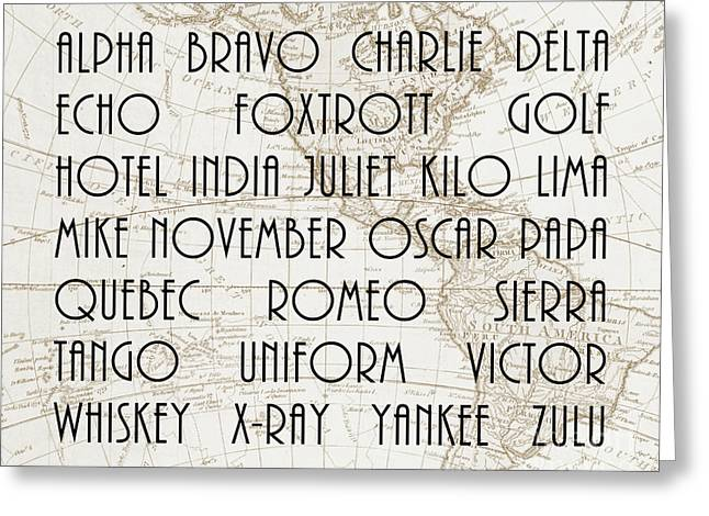 Alpha Bravo Charlie Greeting Card