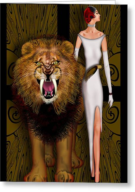 Alpha Male And The Pride Greeting Card by Troy Brown