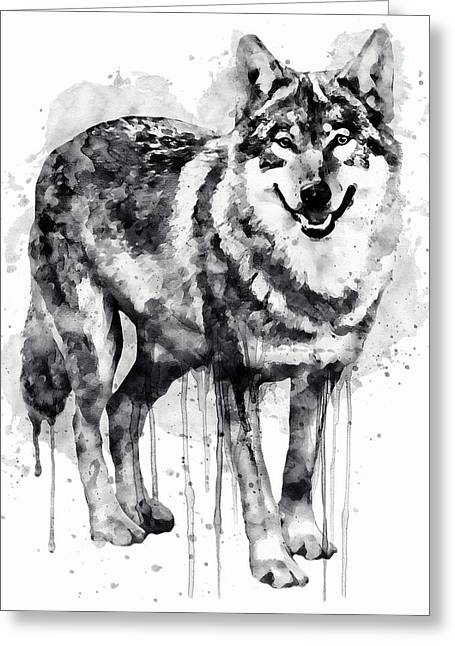 Alpha Wolf Black And White Greeting Card by Marian Voicu