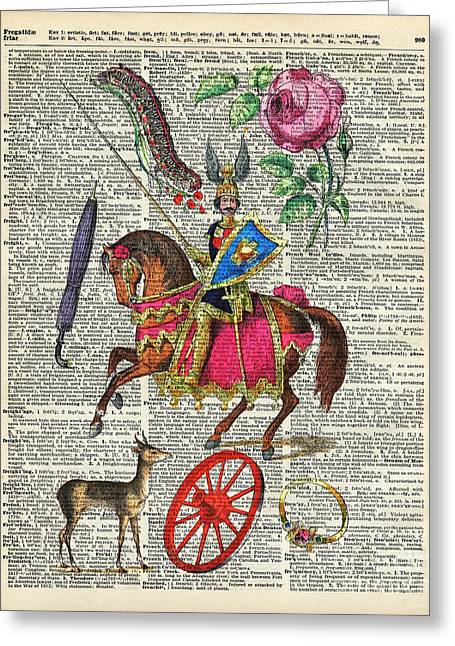 Alphabet Book Illustration Over Old Dictionary Book Page Greeting Card