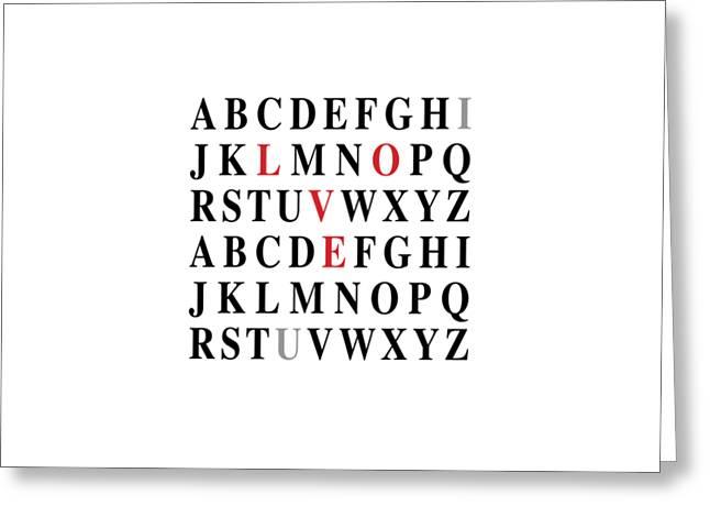 Alphabet I Love U Greeting Card