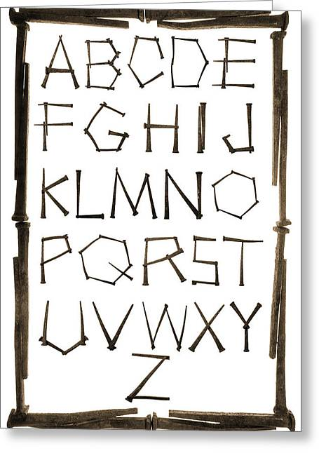 Alphabet Picture Made From Antique Rusty Nails Isolated On White Greeting Card by Donald  Erickson