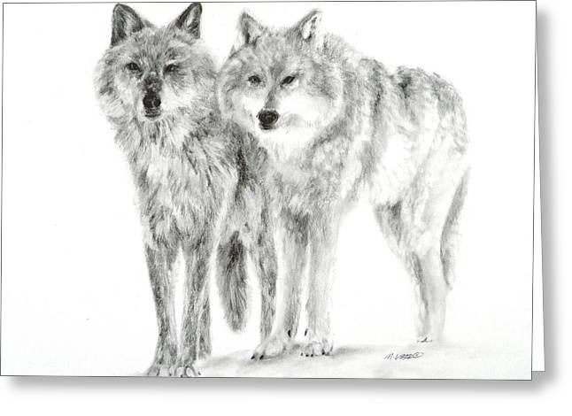Greeting Card featuring the drawing Alphas by Meagan  Visser
