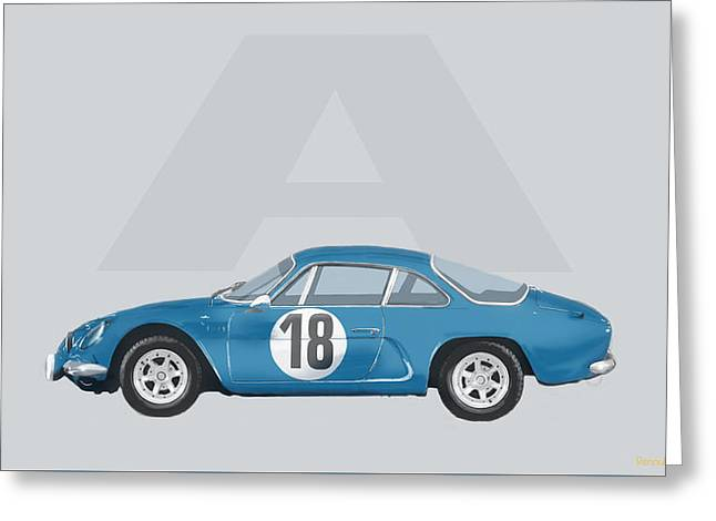 Greeting Card featuring the mixed media Alpine A110 by TortureLord Art