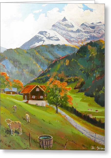 Alpine Farm Near Buerglen In Canton Uri Greeting Card