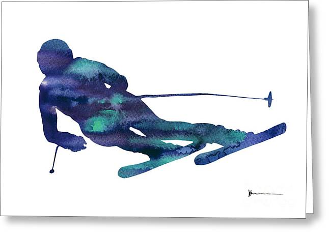 Alpine Skiing Watercolor Minimalist Painting Greeting Card