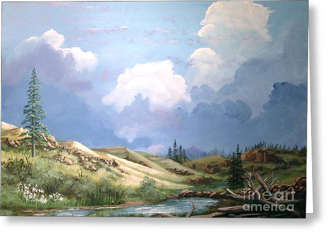 Alpine Vale Greeting Card by John Wise