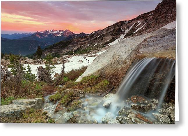 Alpine Waterfall In The Southern Wasatch. Greeting Card by Johnny Adolphson