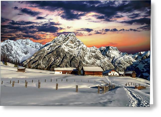 Alpine Winter Scene Greeting Card