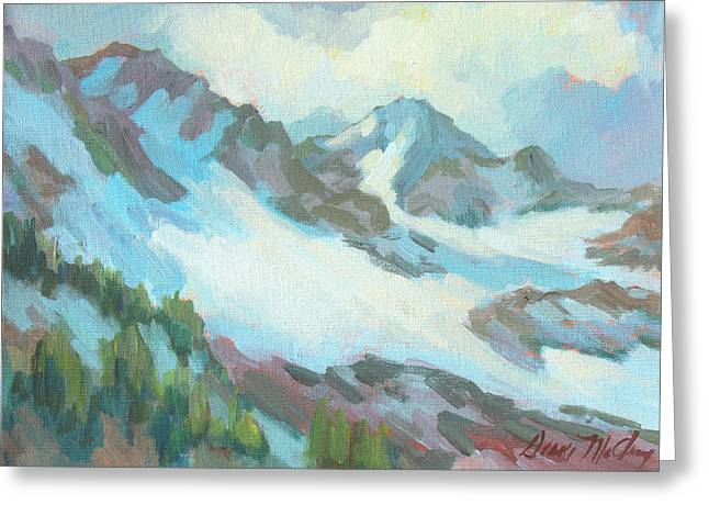 Greeting Card featuring the painting Alps In Switzerland by Diane McClary
