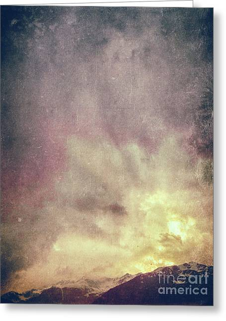 Greeting Card featuring the photograph Alps With Dramatic Sky by Silvia Ganora