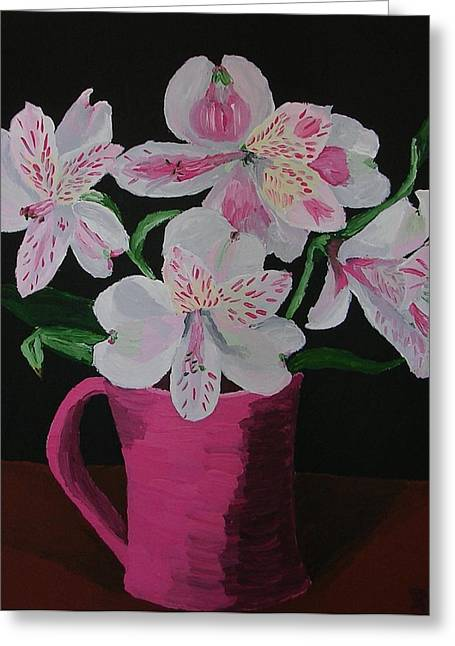 Greeting Card featuring the painting Alstroemeria In Mug by Joshua Redman