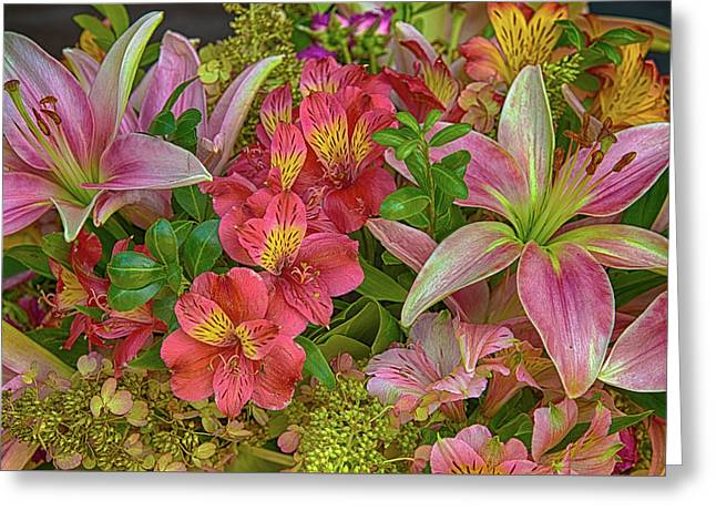 Alstrom And Lilies Greeting Card