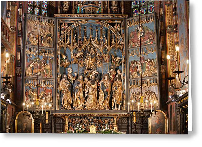 Altarpiece By Wit Stwosz In St. Mary's Basilica In Krakow Greeting Card