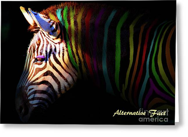 Alternative Fact Number 1 The Color Striped Zebra 7d8908 Greeting Card by Wingsdomain Art and Photography