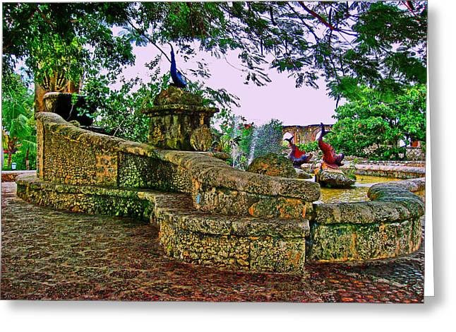 Altos De Chavon. Fountains. Greeting Card by Andy Za