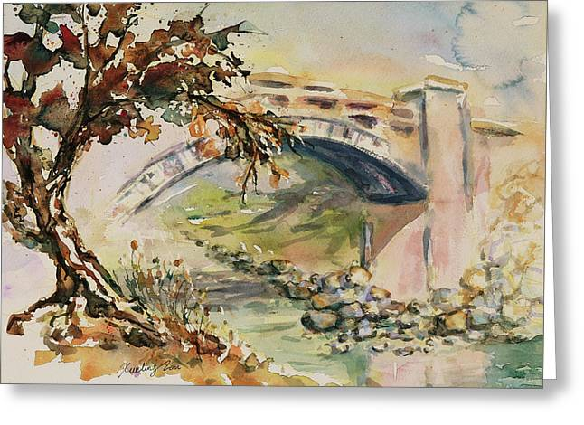 Greeting Card featuring the painting Alum Rock Park California Landscape 5 by Xueling Zou