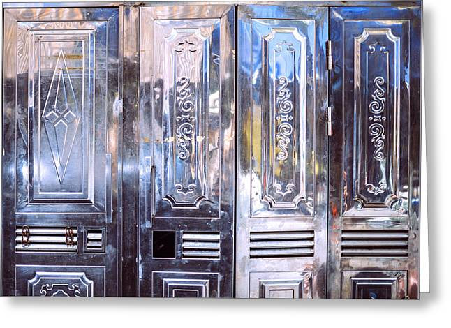 Aluminum Door Texture Background Greeting Card