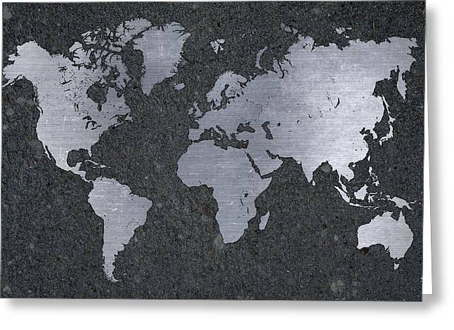 Aluminum Map Of The World On Concrete Slab Greeting Card