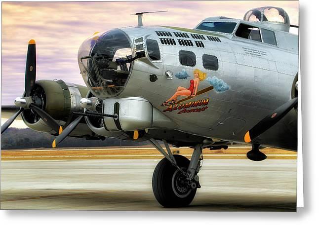 Greeting Card featuring the photograph Aluminum Overcast - B-17 - World War II by Jason Politte