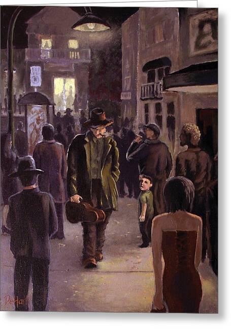 Streetlight Paintings Greeting Cards - Always another show Greeting Card by Benjamin DeHart