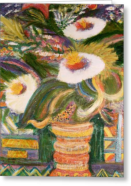 Always Blooming Bright And Happy Flowers Greeting Card by Anne-Elizabeth Whiteway