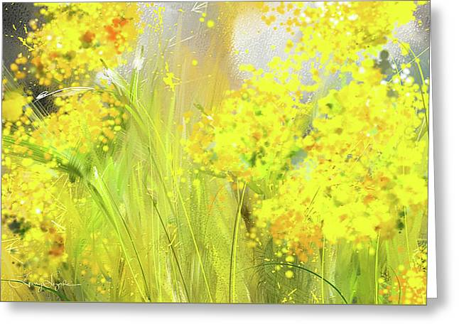 Alyssum Basket Of Gold - Yellow And Gray Abstract Greeting Card by Lourry Legarde
