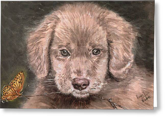 Irish Setter Puppy Dog And Orange Butterfly Greeting Card by Remy Francis