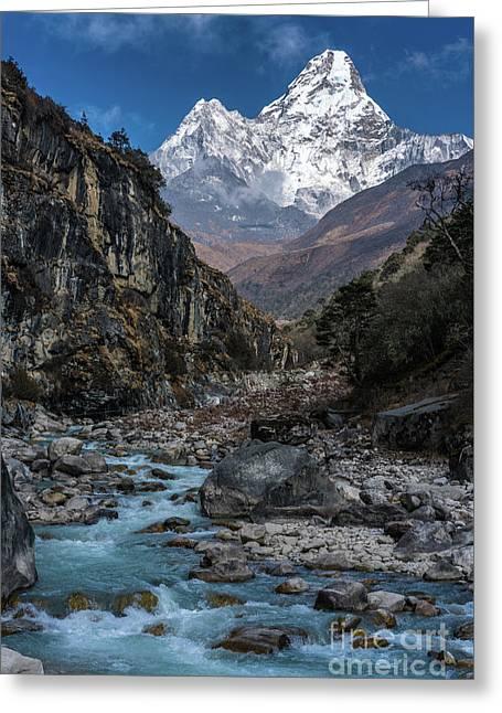 Ama Dablam In Nepal Greeting Card by Mike Reid