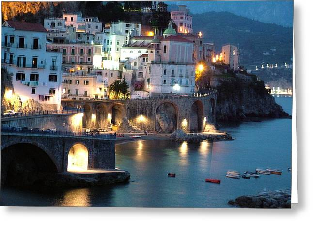 Amalfi Coast At Night Greeting Card