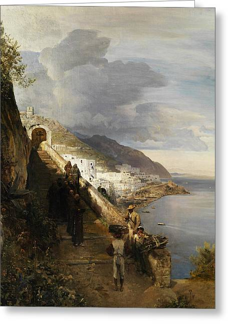 Amalfi Coast Greeting Card by Oswald Achenbach
