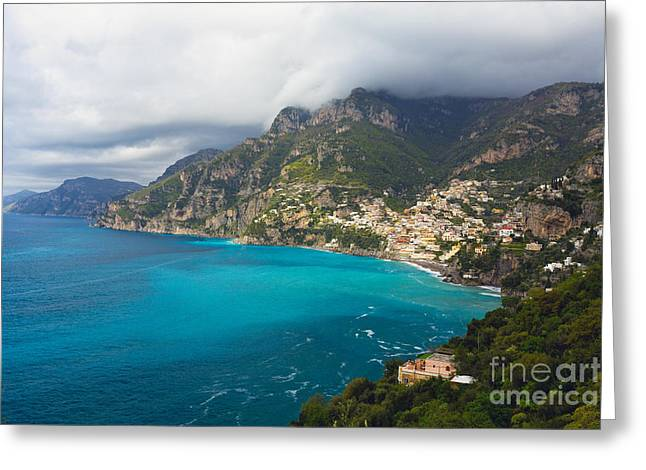 Amalfi Coast Scenic Vista At Positano Greeting Card by George Oze