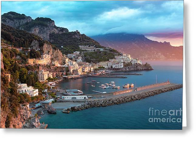 Amalfi Sunrise Greeting Card by Brian Jannsen