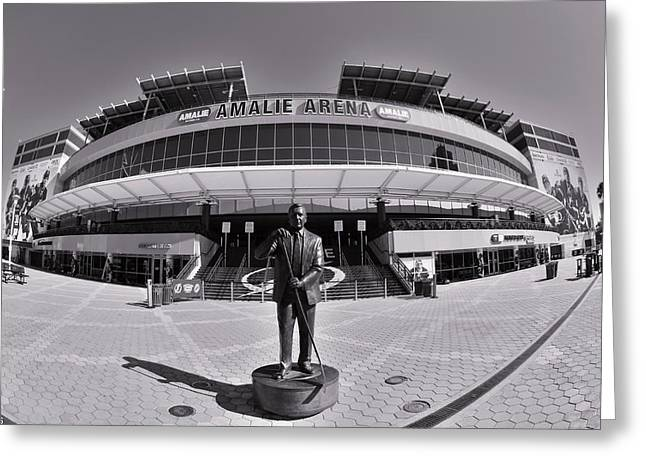 Greeting Card featuring the photograph Amalie Arena Black And White by Lisa Wooten