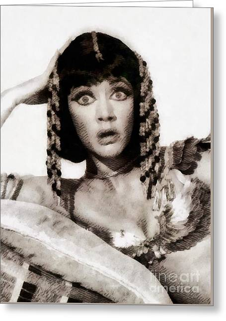 Amanda Barrie, Vintage Actress Greeting Card by John Springfield