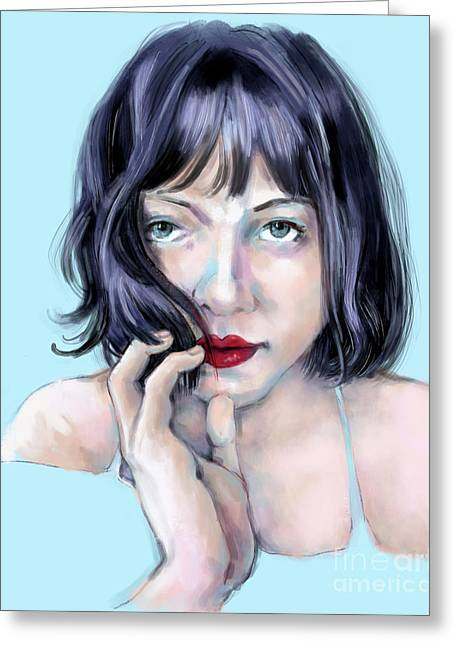 Greeting Card featuring the digital art Amanda by Lora Serra
