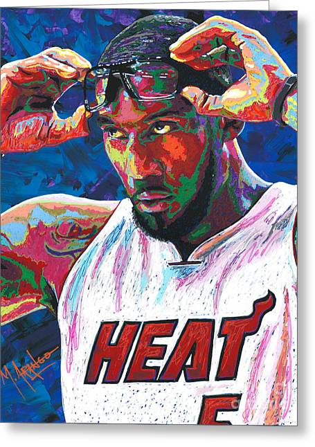 Amare Stoudemire Greeting Card by Maria Arango