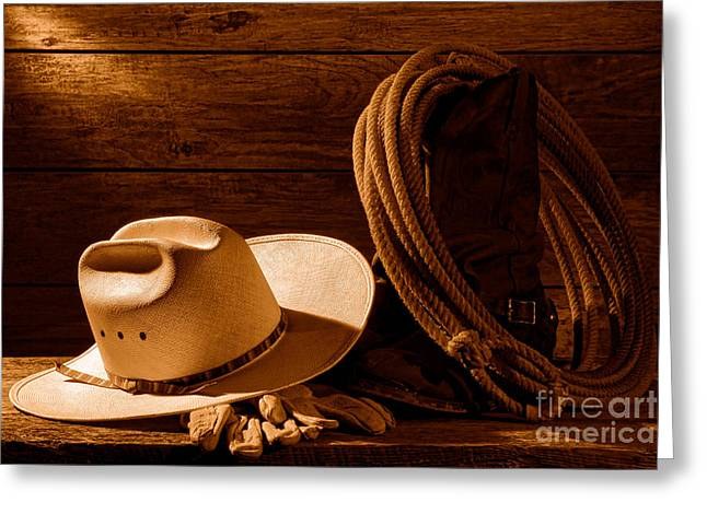 Amarillo By Morning - Sepia Greeting Card by Olivier Le Queinec