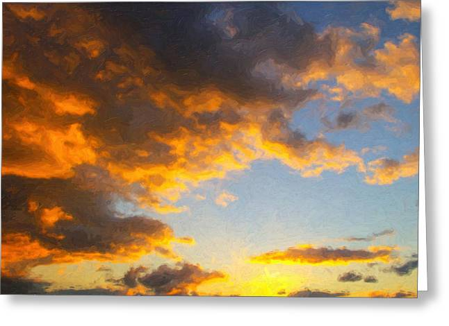 Kinkade Greeting Cards - Amarillo Golden Sunset Greeting Card by Jeff Steed