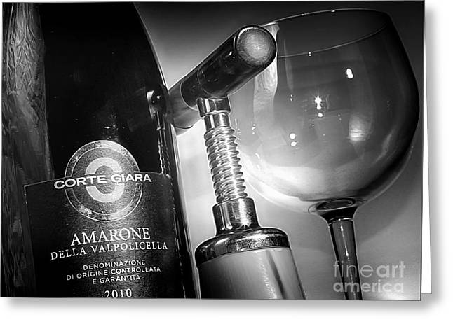 Amarone Black And White Greeting Card by Stefano Senise