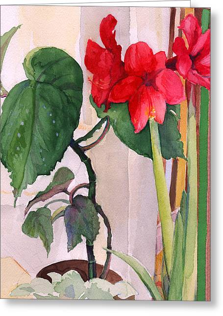 Greeting Card featuring the painting Amaryllis And Begonia by Nancy Watson