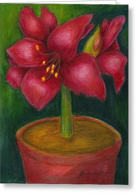 Greeting Card featuring the painting Amaryllis by Jeanne Kay Juhos