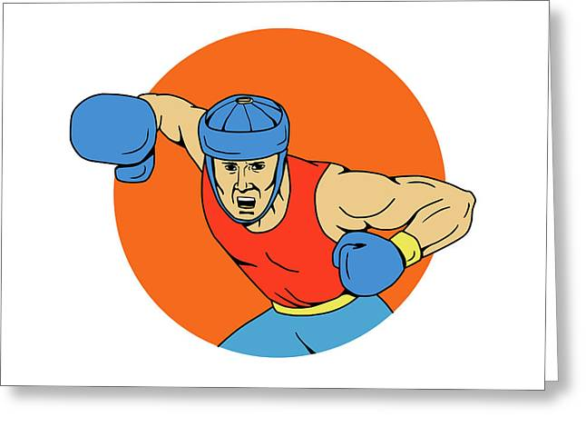 Amateur Boxer Overhead Punch Circle Drawing Greeting Card by Aloysius Patrimonio